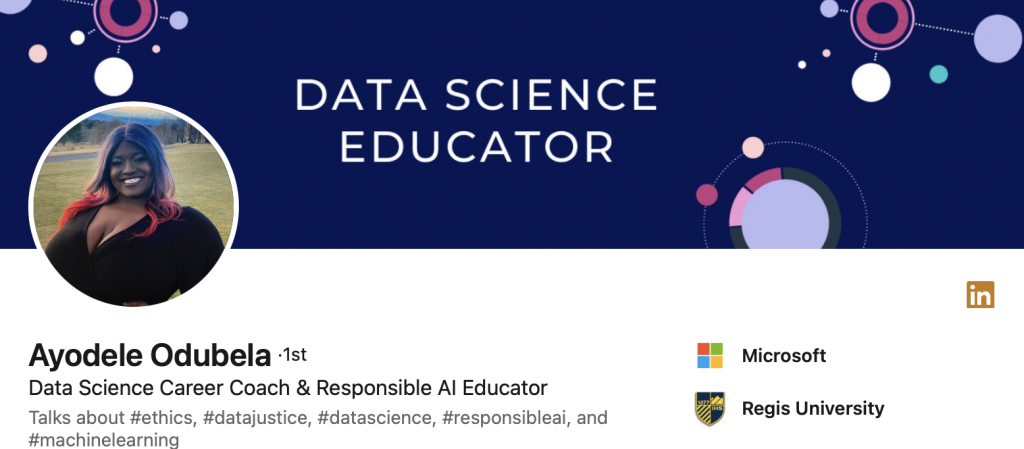 Ayodele Odubela's Twitter Header; follow Ayodele if learn further about Bias in AI